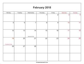 Calendar 2018 February February 2018 Calendar Printable With Holidays Pdf And Jpg