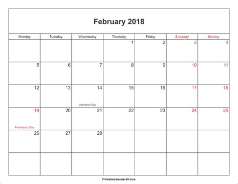 february 2018 calendar printable with holidays pdf and jpg