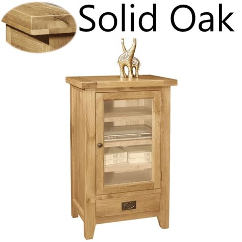 Oak Hi Fi Cabinets With Glass Doors Lyon Solid Oak Furniture Hi Fi Storage Stereo Cabinet Cupboard