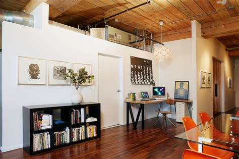 home loft office urban loft rustic home office los angeles by