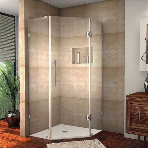 38 Neo Angle Shower Door Aston Neoscape 38 In X 72 In Frameless Neo Angle Shower Enclosure In Chrome With Self Closing