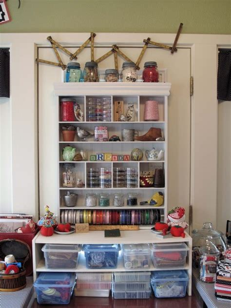 cozy sewing space eclectic home office dallas