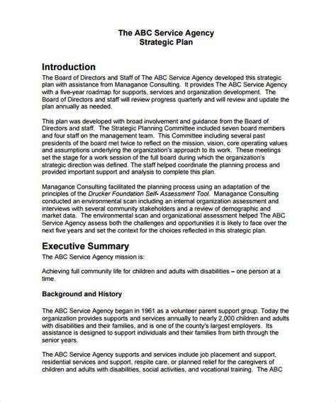 strategic plan outline template sle strategic plan 9 documents in pdf word