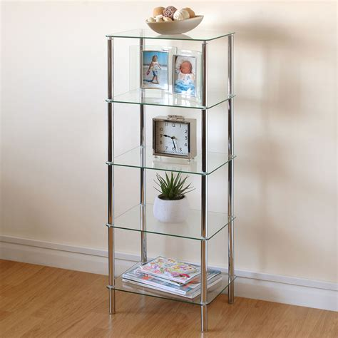 living room display shelves hartleys clear glass 5 tier side table display shelf unit lounge living room ebay