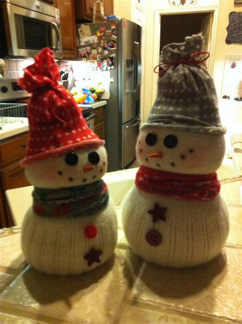 sock snowman do it yourself snowmen made from dollar store socks rice buttons and a