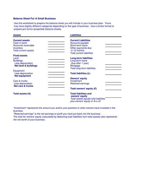 Business Balance Sheet Template by Small Business Balance Sheet Template Excel