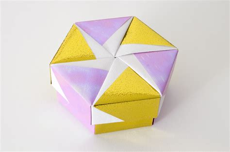 Origami Boxes With Lids - hexagonal origami box with lid 10 flickr photo