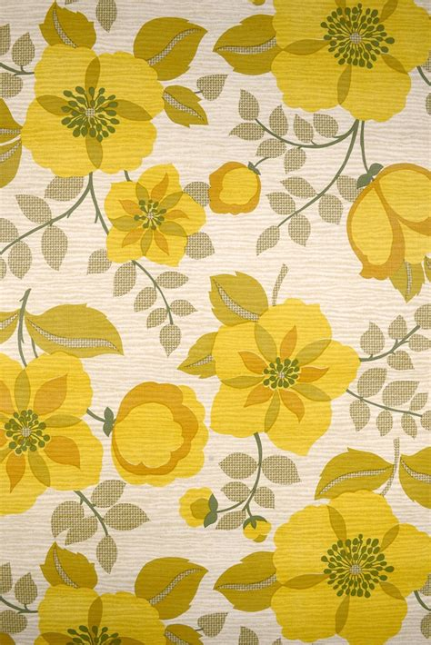 classic yellow wallpaper retro vintage floral wallpaper