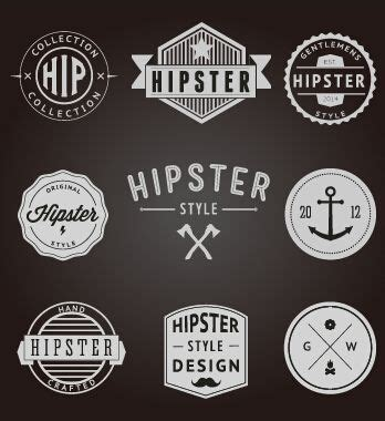 Kofferaufkleber Vintage by Hipster Style Badges And Labels Vector Graphics 02