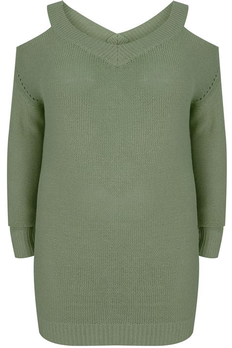 Lost My Vanilla Visa Gift Card - khaki knitted cold shoulder jumper with pointelle detail plus size 16 to 36