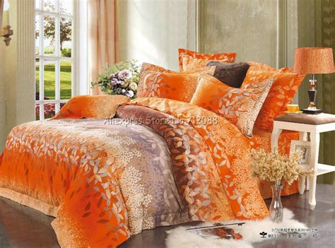 orange full size comforter wholesale hot sale reactive sanding orange coffee leaves
