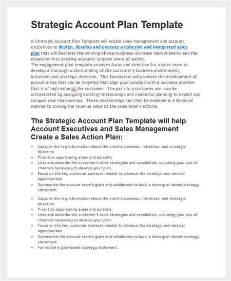 31 Sales Plan Formats Sle Templates Account Manager Business Plan Template