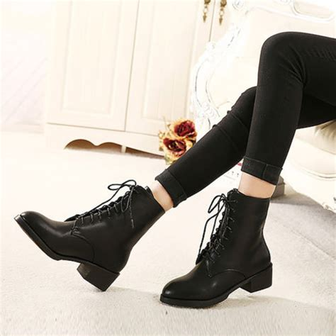 new fashion combat lace up black ankle boots low