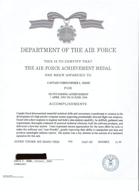 183 air achievement medal air forcecommendation