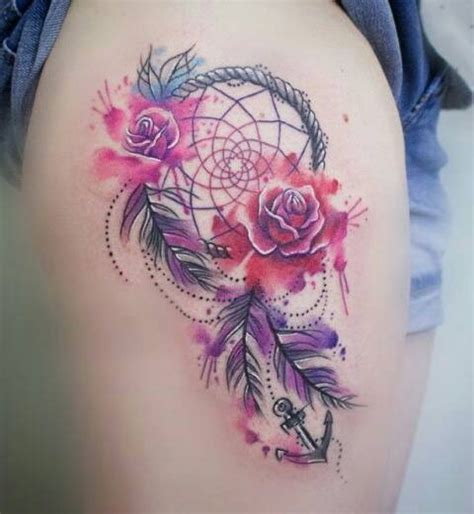 tattoo dreamcatcher with roses rose dream catcher anchor tattoo dreamcatcher