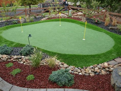 installing turf in backyard garden patio mini size putting green with yellow signs