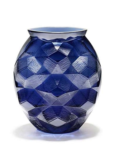 Lalique Blue Vase by Lalique Tortue Vase Midnight Blue