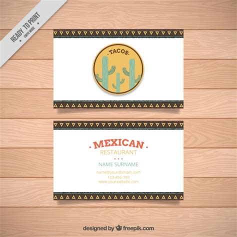 mexican business card template business card of mexican restaurant vector free