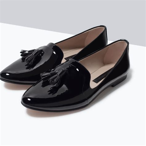 and flat shoes zara glossy flat shoes in black lyst