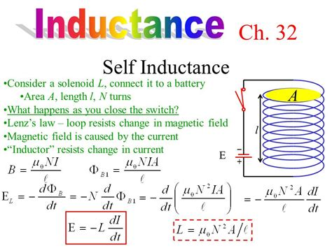 formula for inductance of a solenoid ch 32 self inductance inductance a ppt