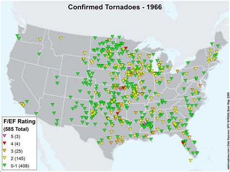 map of tornadoes today us tornadoes map1966 u s tornadoes