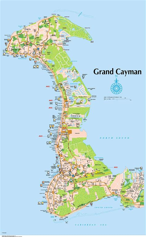 map of cayman islands 7 mile size map grand cayman island map