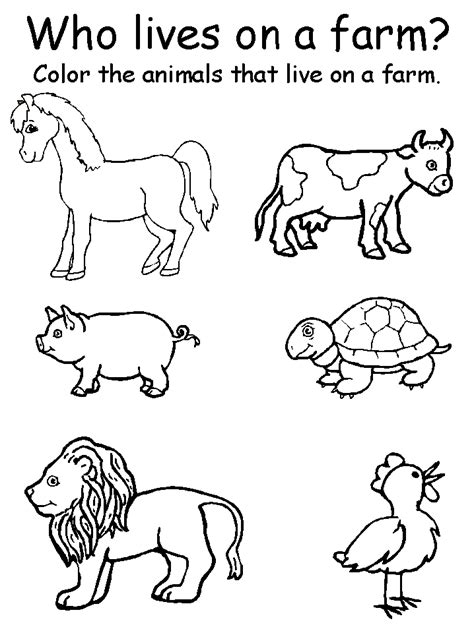 colour in farm animals coloring home