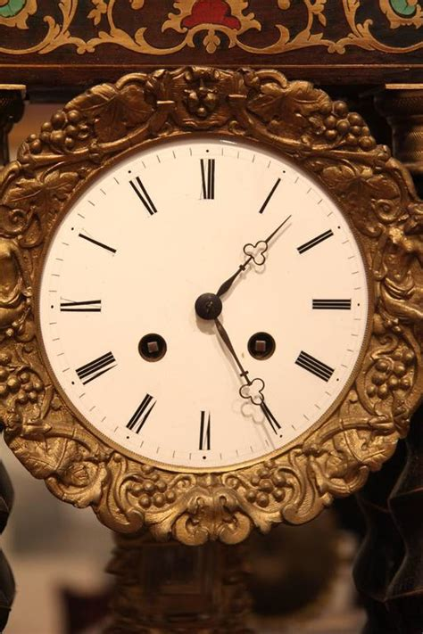 Antique Empire 5574 by Empire Style Brass Inlaid Portico Clock For Sale At