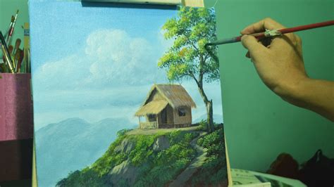 best paints acrylic landscape painting lesson house on top of hill by