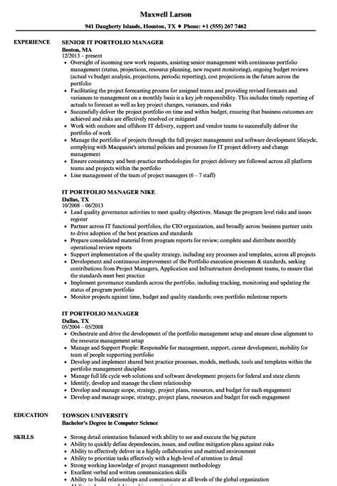 portfolio manager resume resume ideas