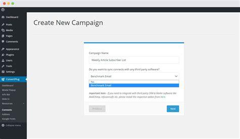 bench mark email benchmark email wordpress popup plugin convertplug
