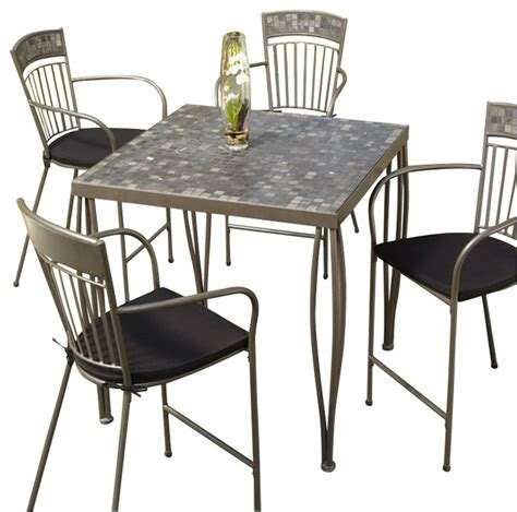 Marble Bistro Table And Chairs Home Styles Glen Rock Marble Top Square Outdoor Bistro Table In Gray Transitional Patio