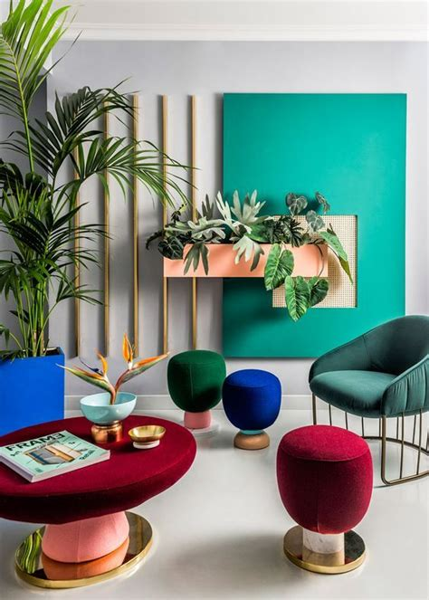 bright colour interior design geometric form the 1980s and studio spaces on pinterest