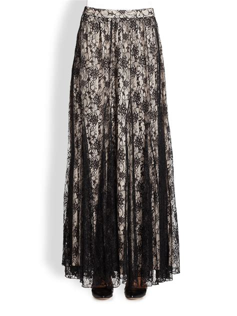 louie draped lace maxi skirt in black lyst