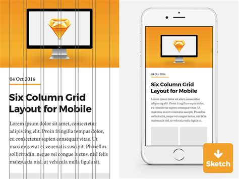 grid layout download 6 column grid for iphone sketch template freebie