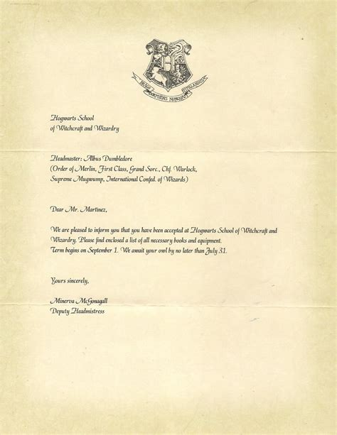 Acceptance Letter For Birthday Hogwarts Letter Of Acceptance Harry Potter Hogwarts Letter Hogwarts And