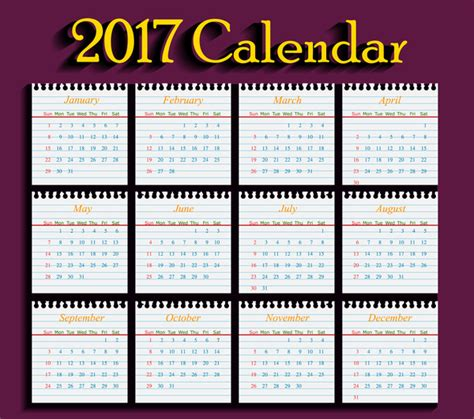 Calendar Template 2017 Free Download
