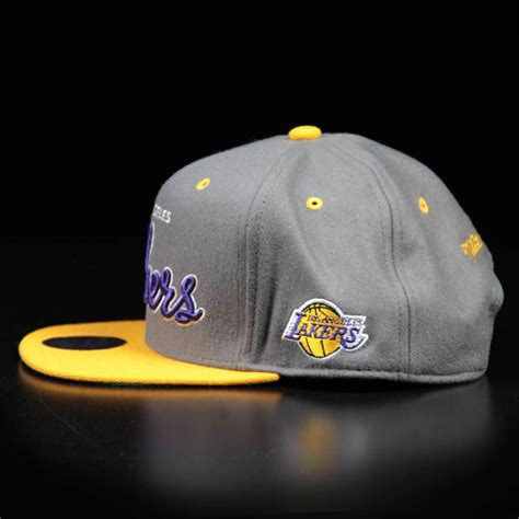 yellow grey hat la lakers gray and yellow felt snapback wehustle