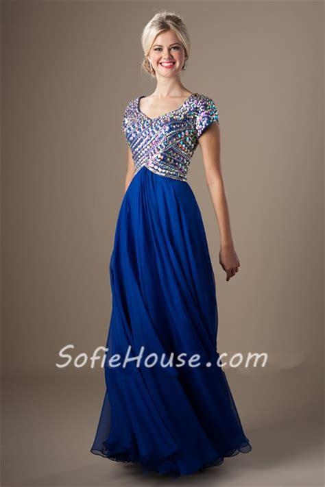 blue beaded dress modest sweetheart empire waist royal blue chiffon