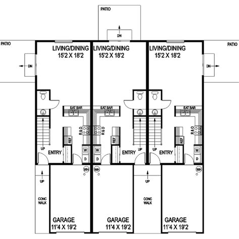 triplex floor plans dorian place 2 story triplex plan 085d 0854 house plans