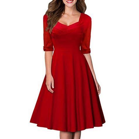 formal swing dress 2016 new spring summer red women vintage casual swing