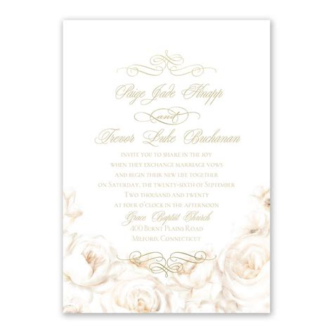 Gold Wedding Invitation Cards by White Roses Foil Invitation Invitations By