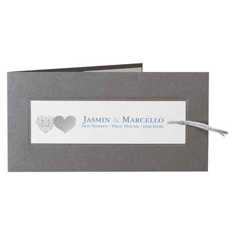 graue hochzeitseinladung drucken mit herzmotiv und - Hochzeitseinladung Mit Einsteckkarte