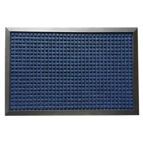 rubber cal nottingham blue 24 in x 36 in rubber backed carpet mat 03 200 zwbl the home depot