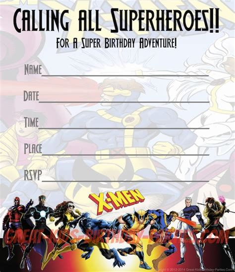 free x men party invitations print these fun