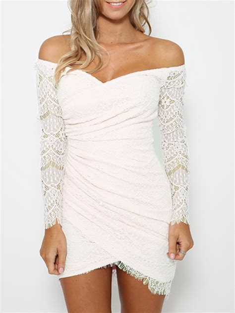 Dress Out Shouldersexy Dressshort Dressmini Dress white sleeve hollow out lace bodycon sweetheart neck the shoulder mini dress 2016