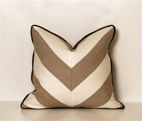 tan couch pillows linen beige and white chevron throw pillow by ccduexvie on
