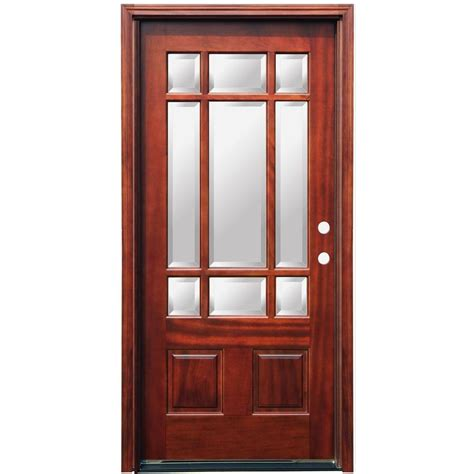 Pacific Entries 36 In X 80 In Craftsman 9 Lite Stained Wood Glass Exterior Doors