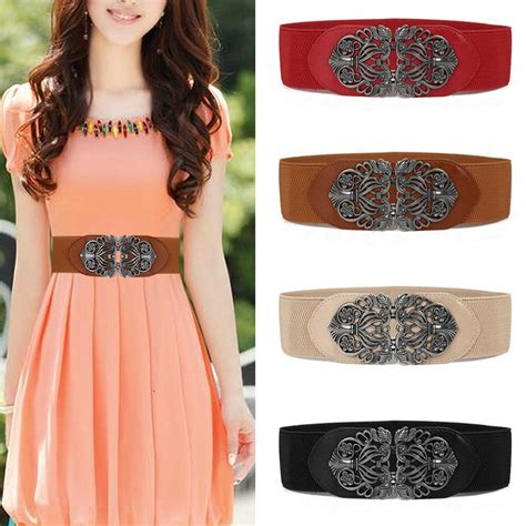 fashion leather belts wide dress belts elastic