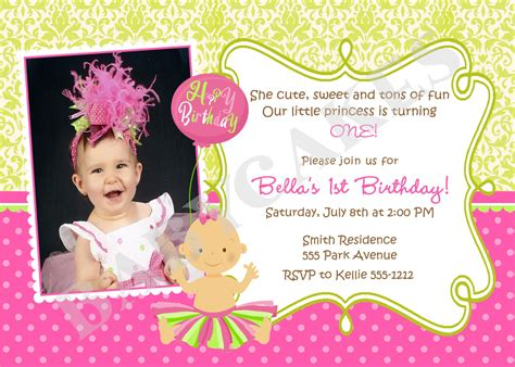 1st Birthday Invitation Card In Princess Birthday 1st Birthday Invitation Tutu By Jcbabycakes